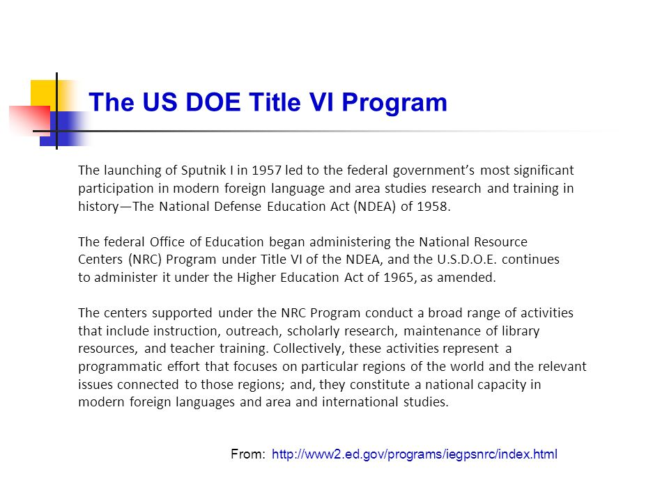 The US DOE Title VI Program