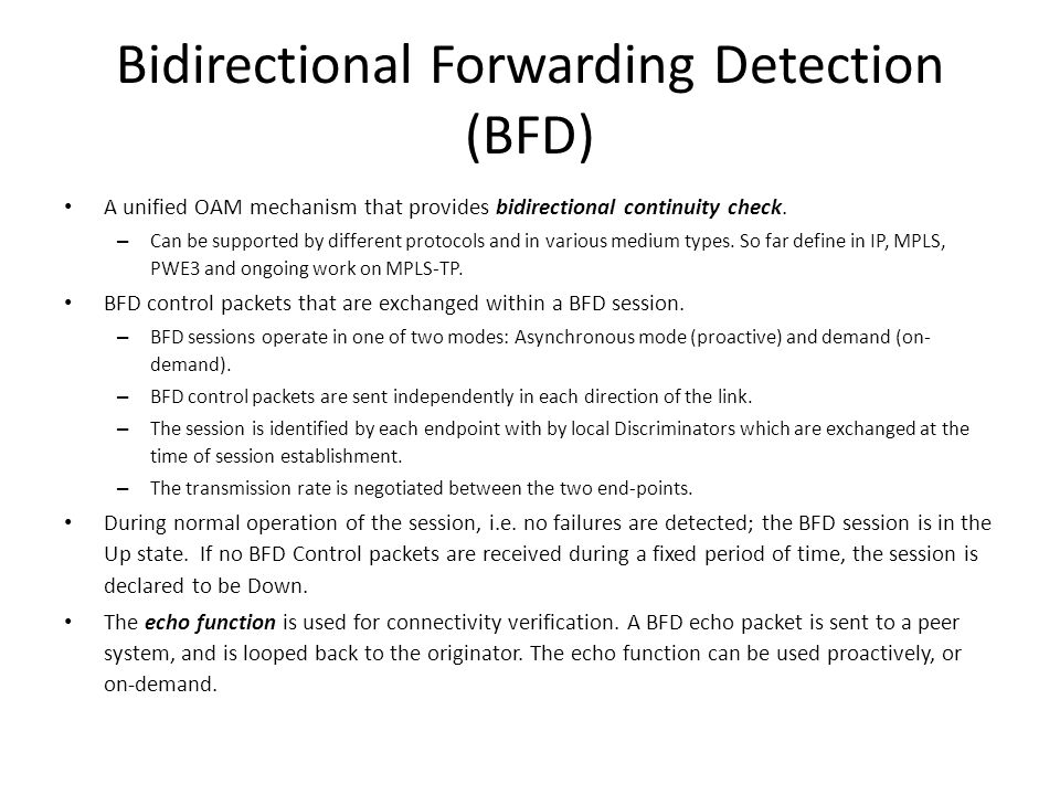 Bidirectional Forwarding Detection (BFD)