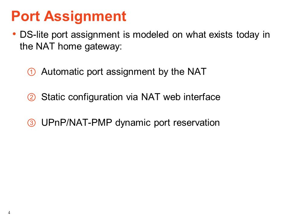 Port Assignment DS-lite port assignment is modeled on what exists today in the NAT home gateway: Automatic port assignment by the NAT.