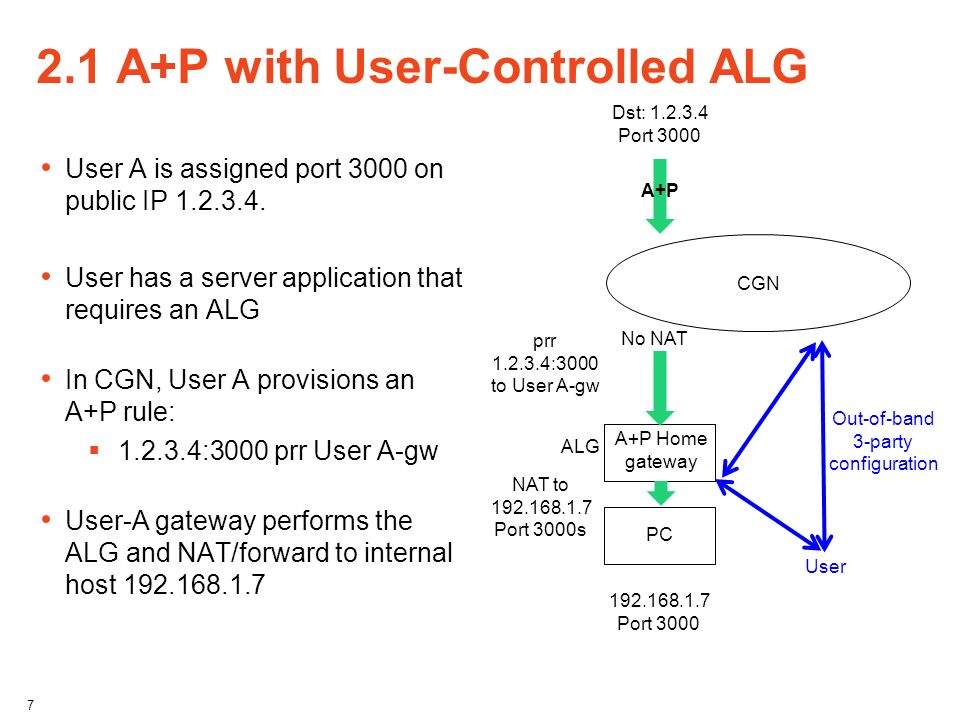 2.1 A+P with User-Controlled ALG