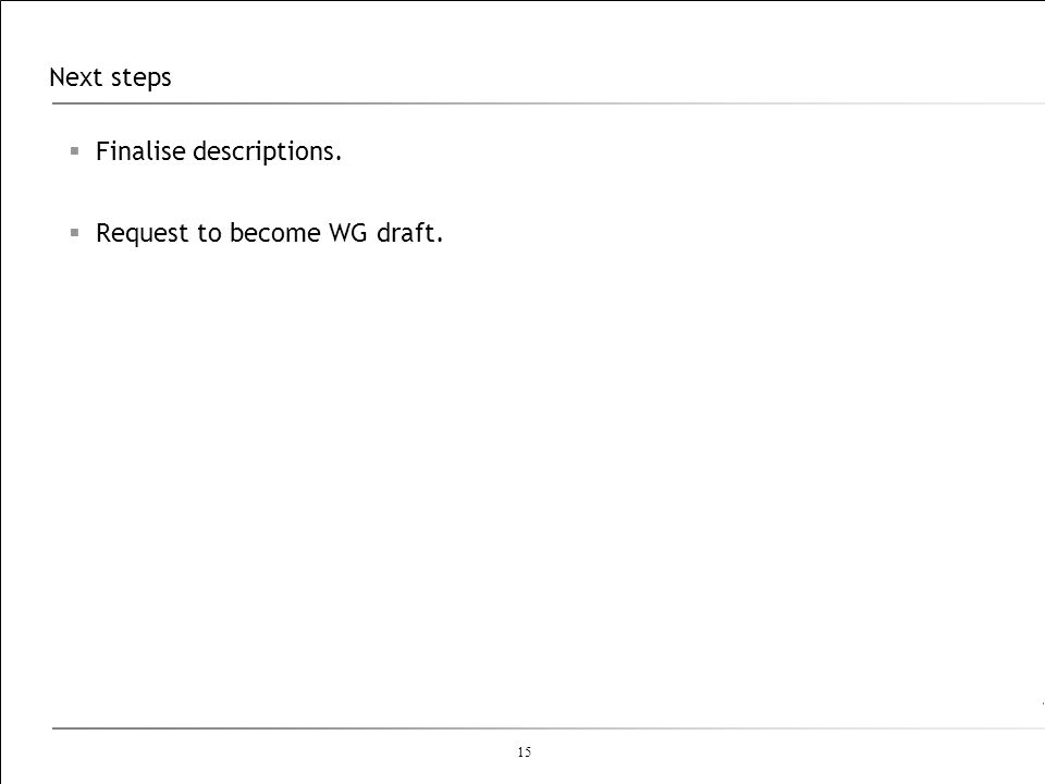 Next steps Finalise descriptions. Request to become WG draft.