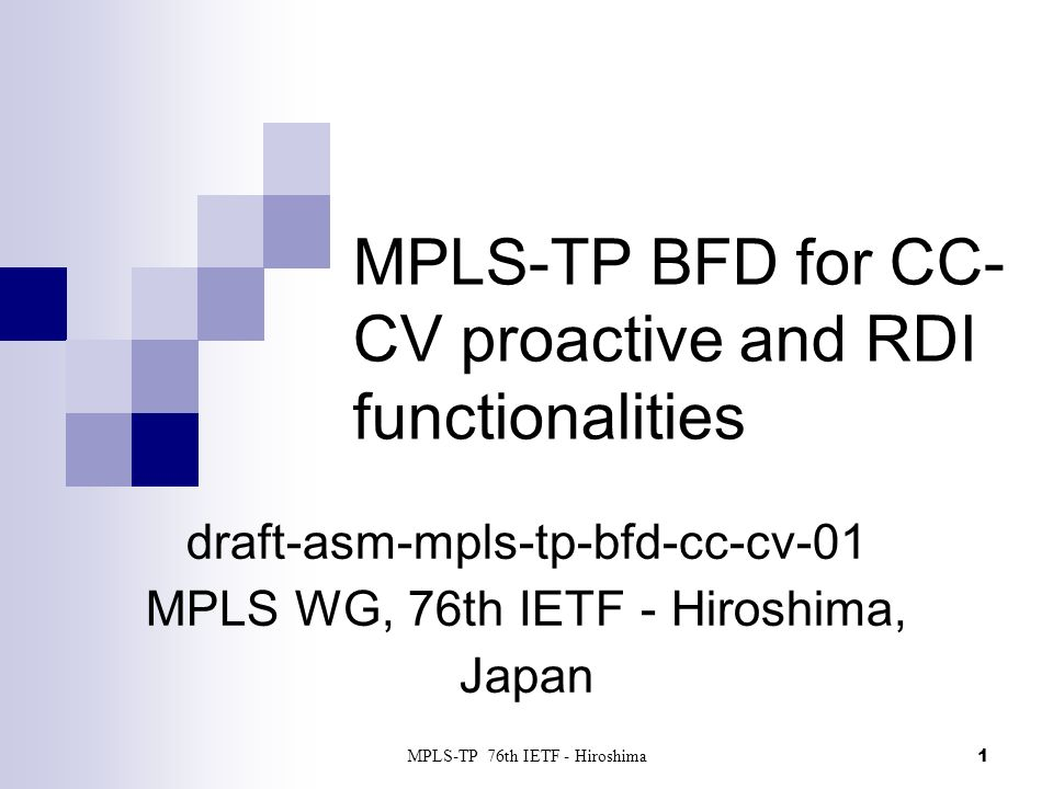 MPLS-TP BFD for CC-CV proactive and RDI functionalities