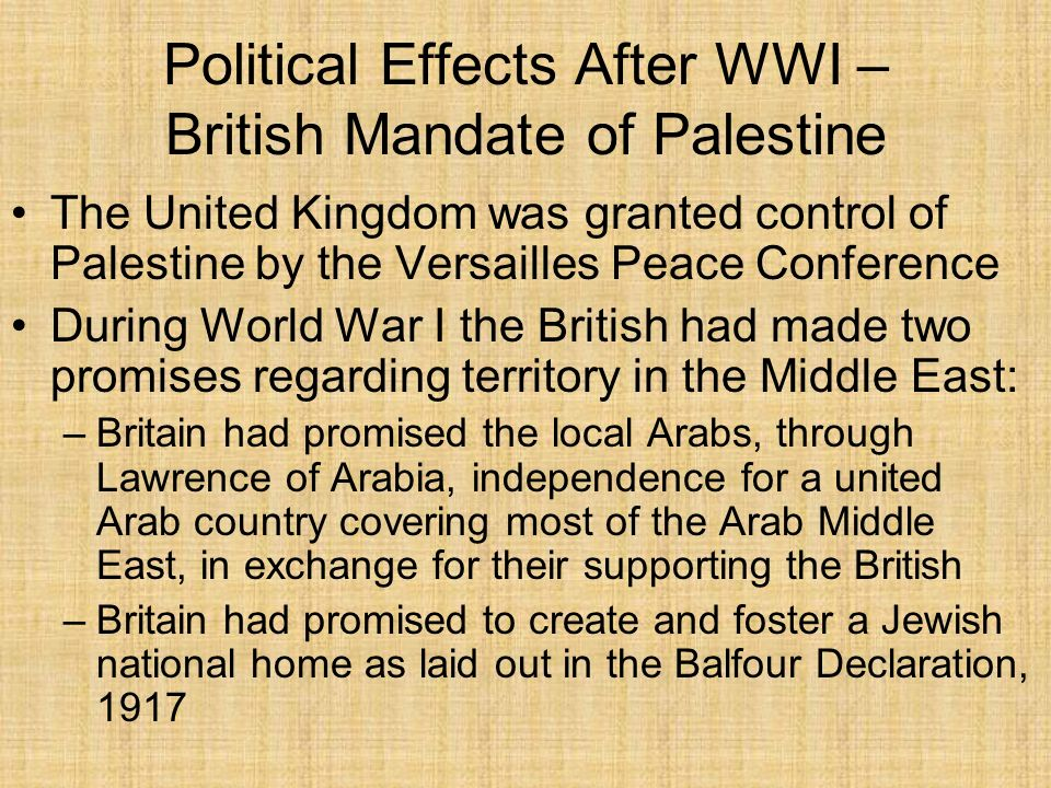 Political Effects After WWI – British Mandate of Palestine