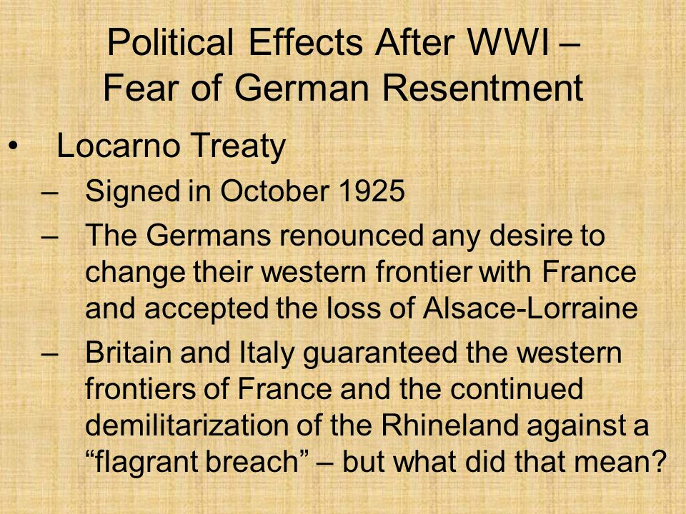 Political Effects After WWI – Fear of German Resentment