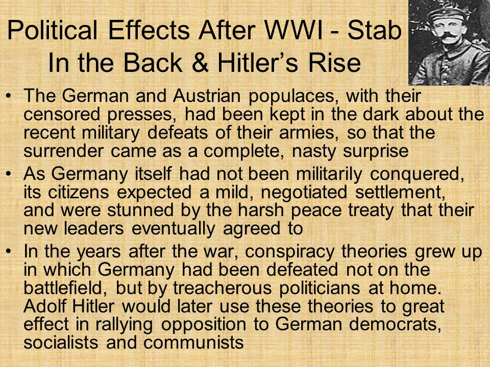Political Effects After WWI - Stab In the Back & Hitler's Rise