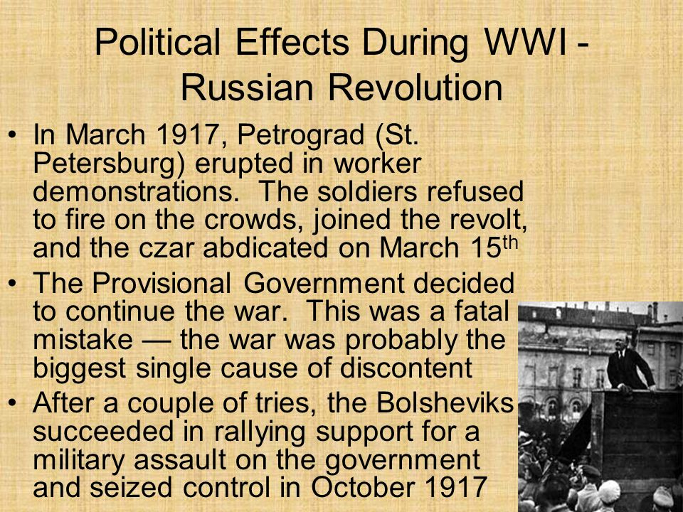 Political Effects During WWI - Russian Revolution