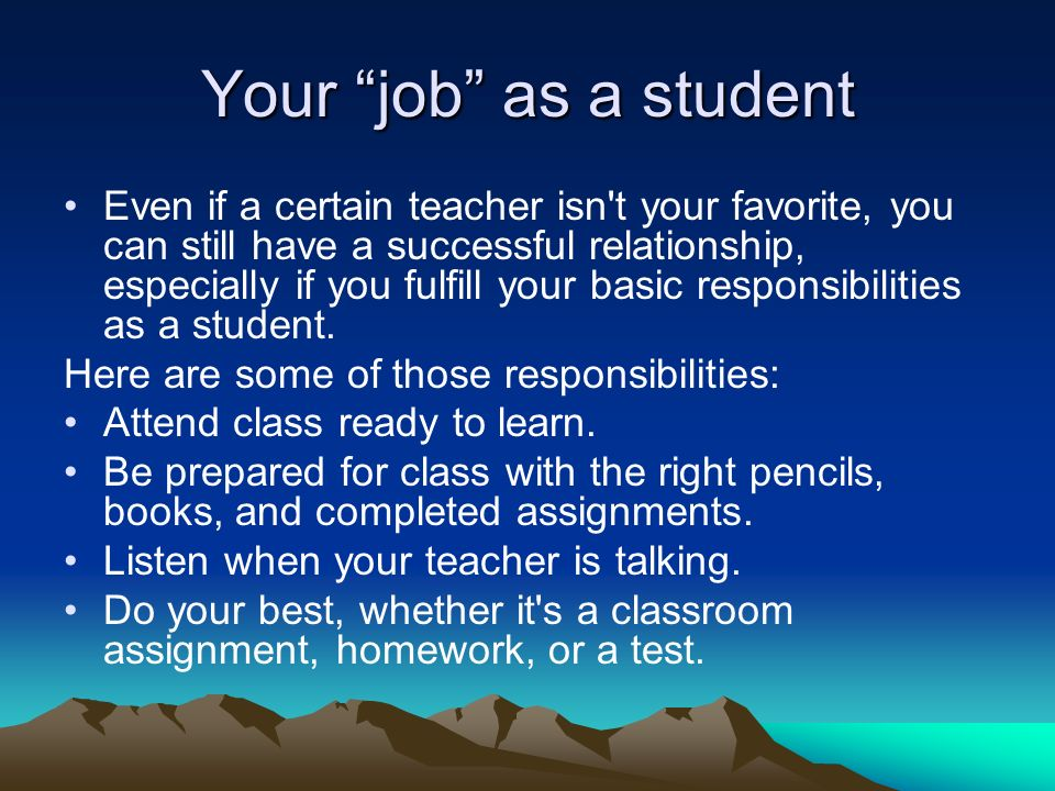 Your job as a student