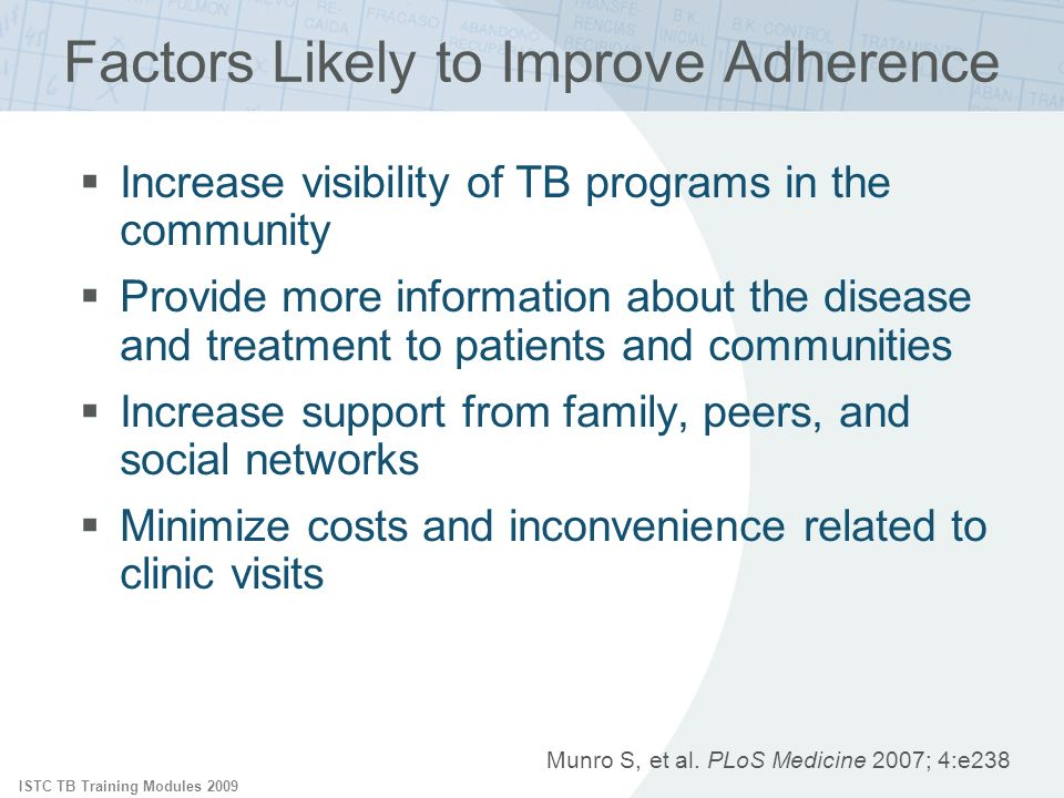 Factors Likely to Improve Adherence