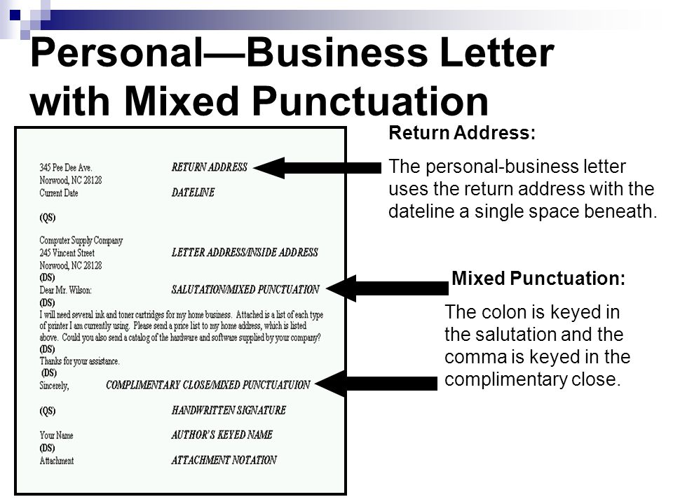 Personal—Business Letter with Mixed Punctuation