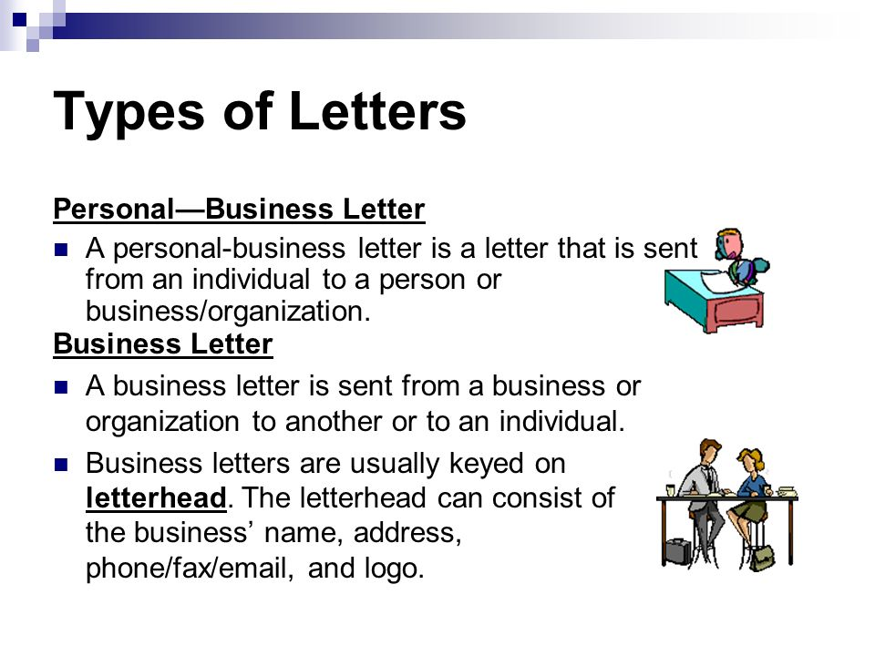 Types of Letters Personal—Business Letter
