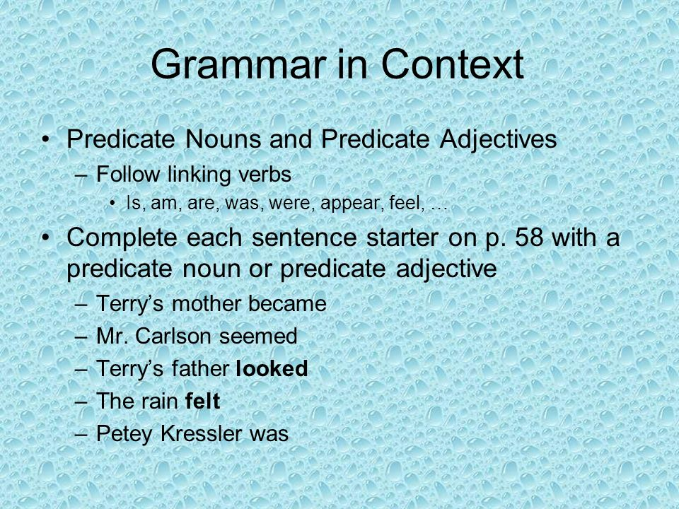 Grammar in Context Predicate Nouns and Predicate Adjectives
