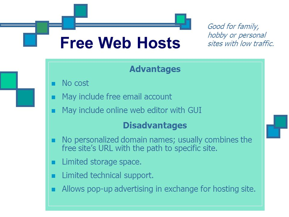 Free Web Hosts Advantages Disadvantages No cost