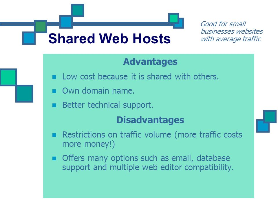 Shared Web Hosts Advantages Disadvantages