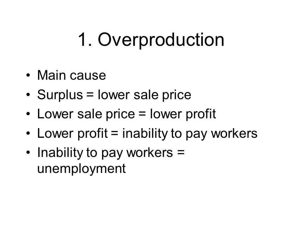 1. Overproduction Main cause Surplus = lower sale price