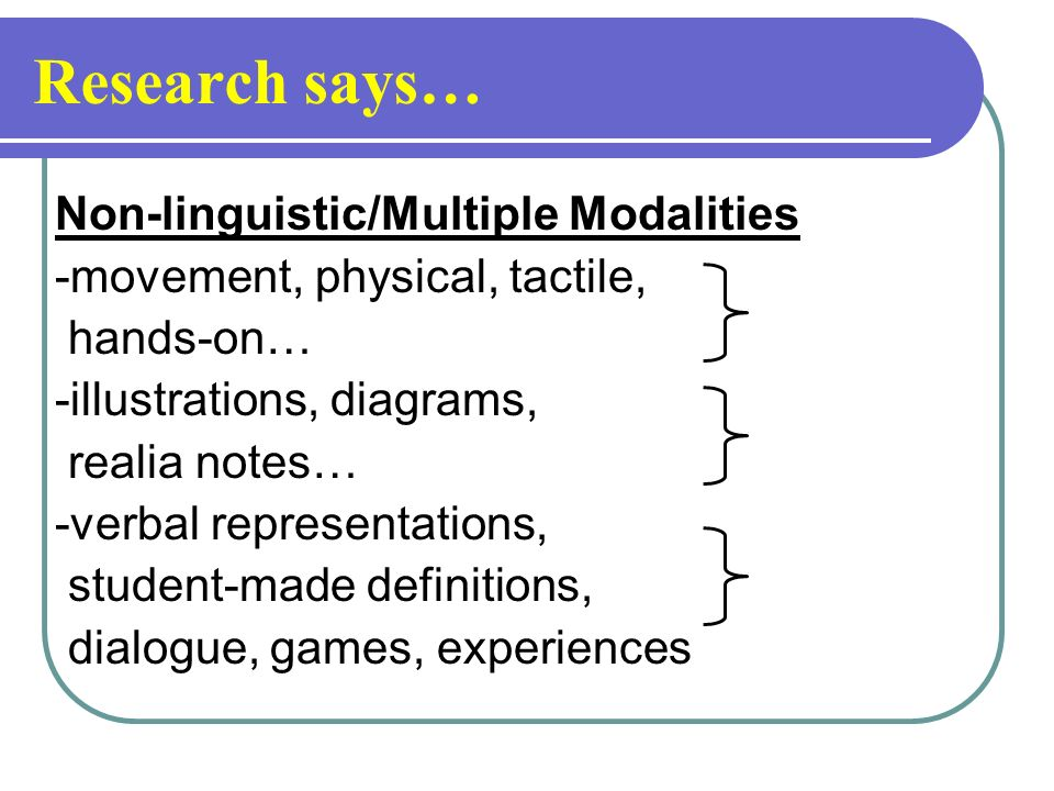Research says… Non-linguistic/Multiple Modalities