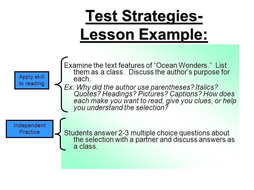 Test Strategies- Lesson Example: