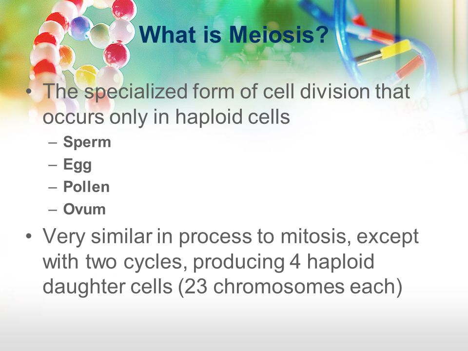 What is Meiosis The specialized form of cell division that occurs only in haploid cells. Sperm. Egg.