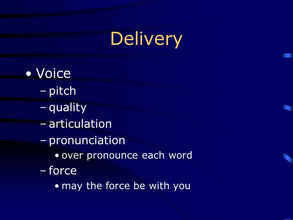 Delivery Voice pitch quality articulation pronunciation force