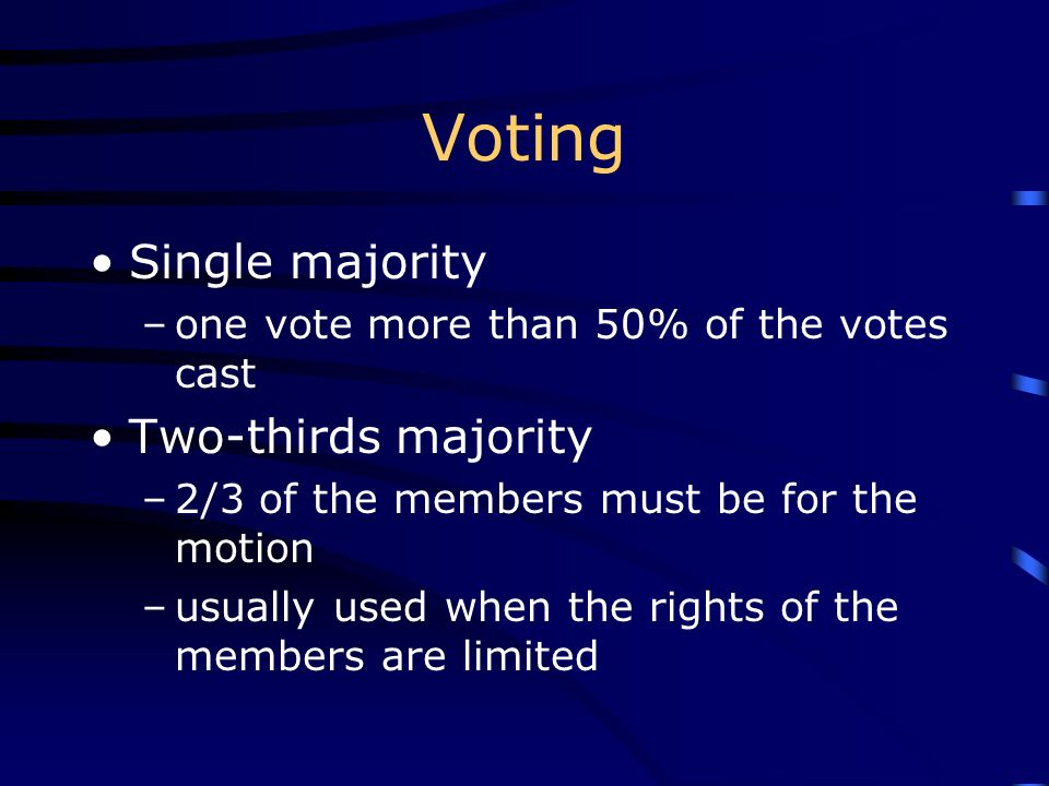 Voting Single majority Two-thirds majority