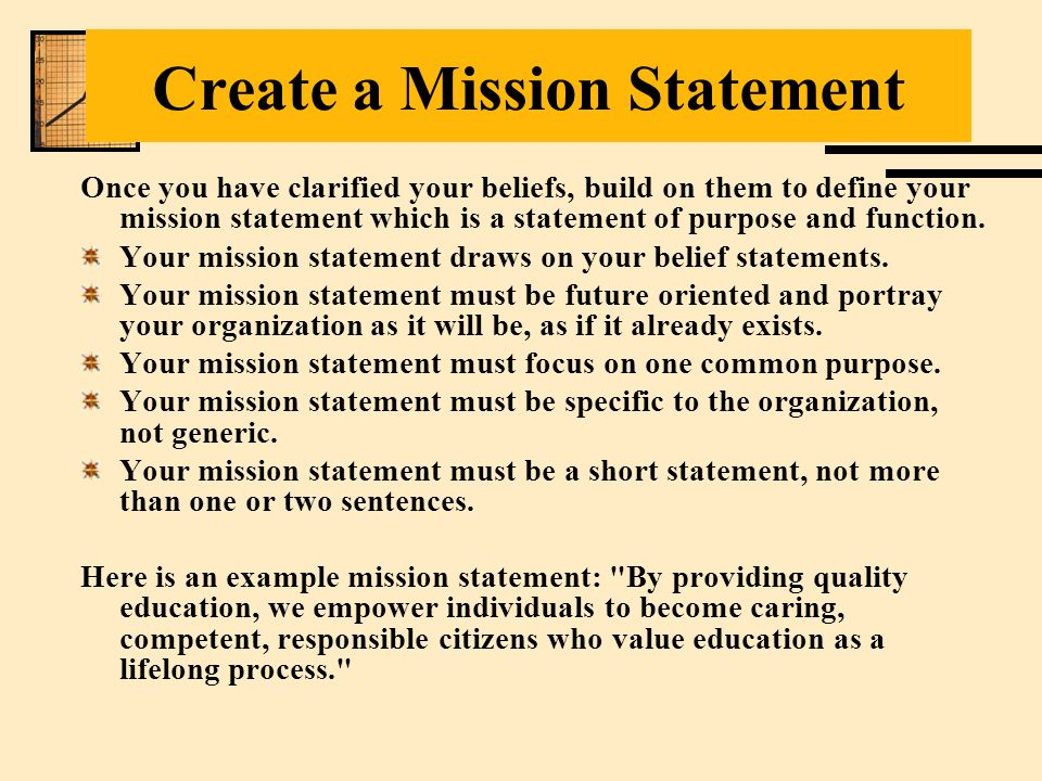 Create A Mission Statement
