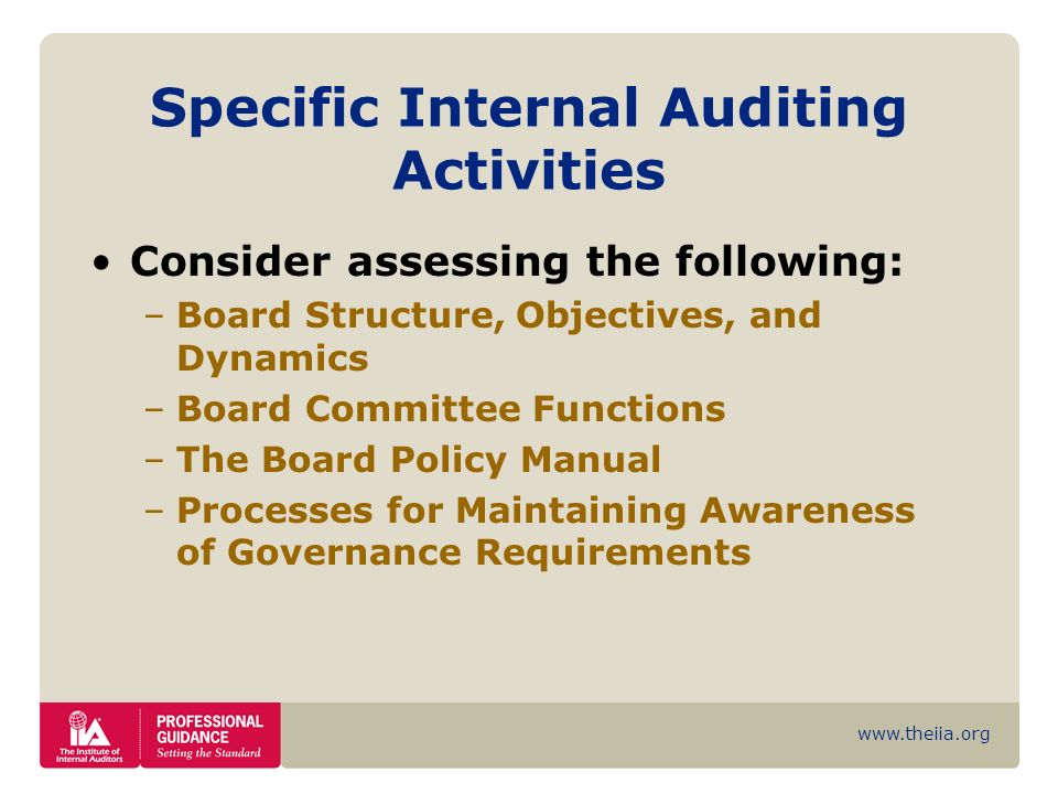Specific Internal Auditing Activities