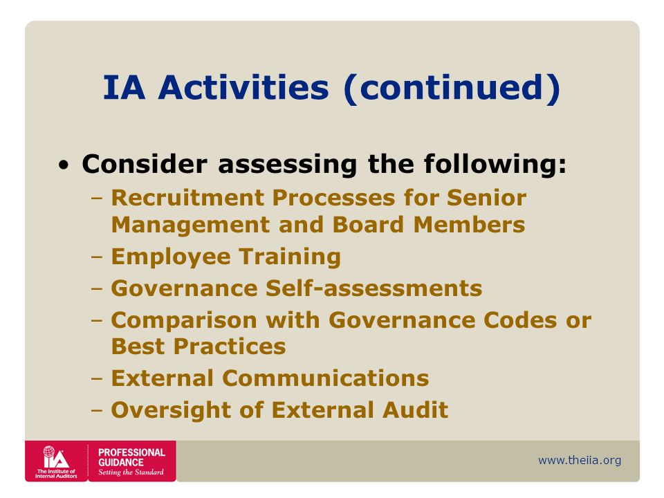 IA Activities (continued)