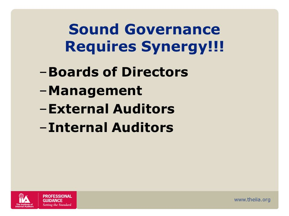 Sound Governance Requires Synergy!!!