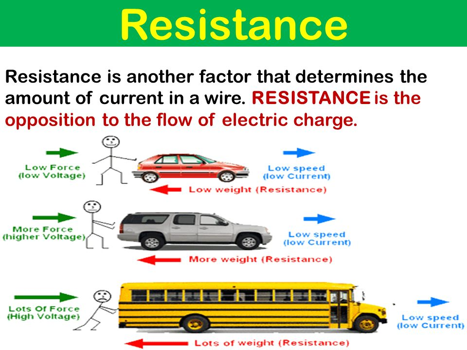 Resistance Resistance is another factor that determines the amount of current in a wire.