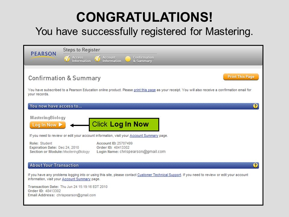 You have successfully registered for Mastering.
