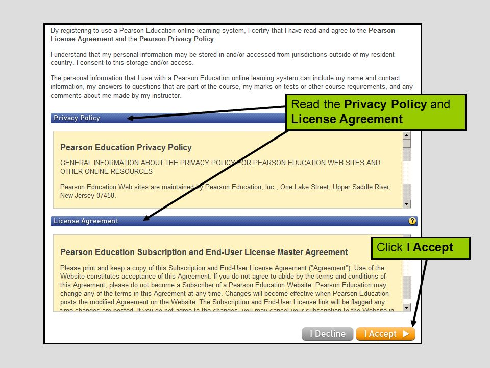 Read the Privacy Policy and License Agreement