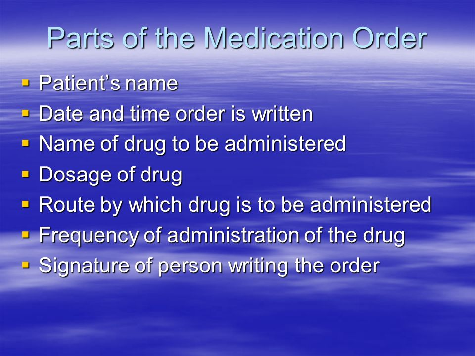 Parts of the Medication Order