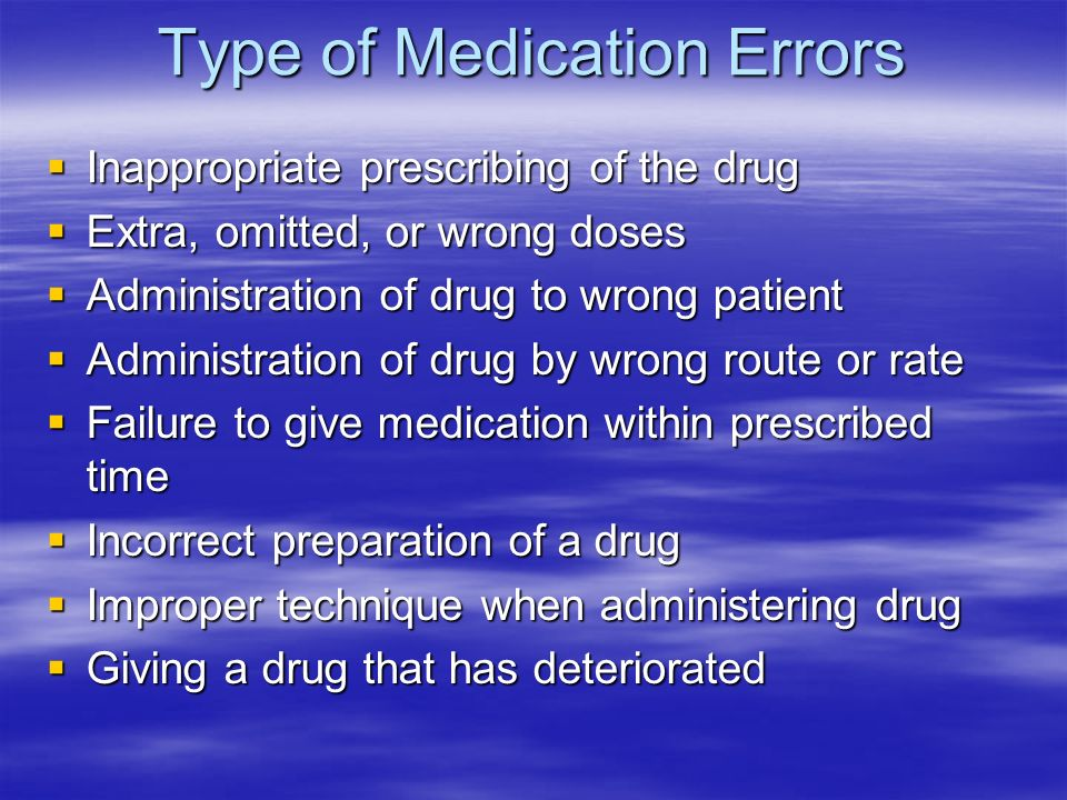 Type of Medication Errors