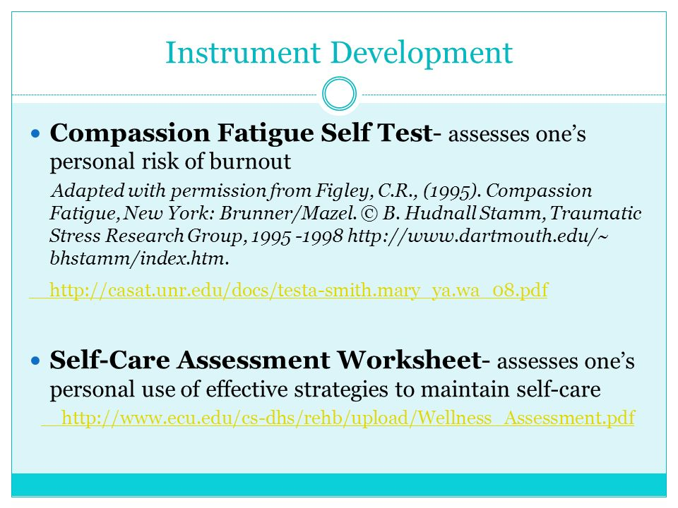 understanding the risk of compassion fatigue and burnout and the potential for compassion satisfacti The proqol survey consists of 3 subscales (compassion satisfaction, burnout, and secondary traumatic stress) used to measure compassion satisfaction and compassion fatigue of the 3 subscales, 2 (burnout and secondary traumatic stress) are components of compassion fatigue, whereas compassion satisfaction is a stand-alone measure.