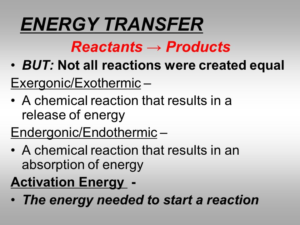 ENERGY TRANSFER Reactants → Products
