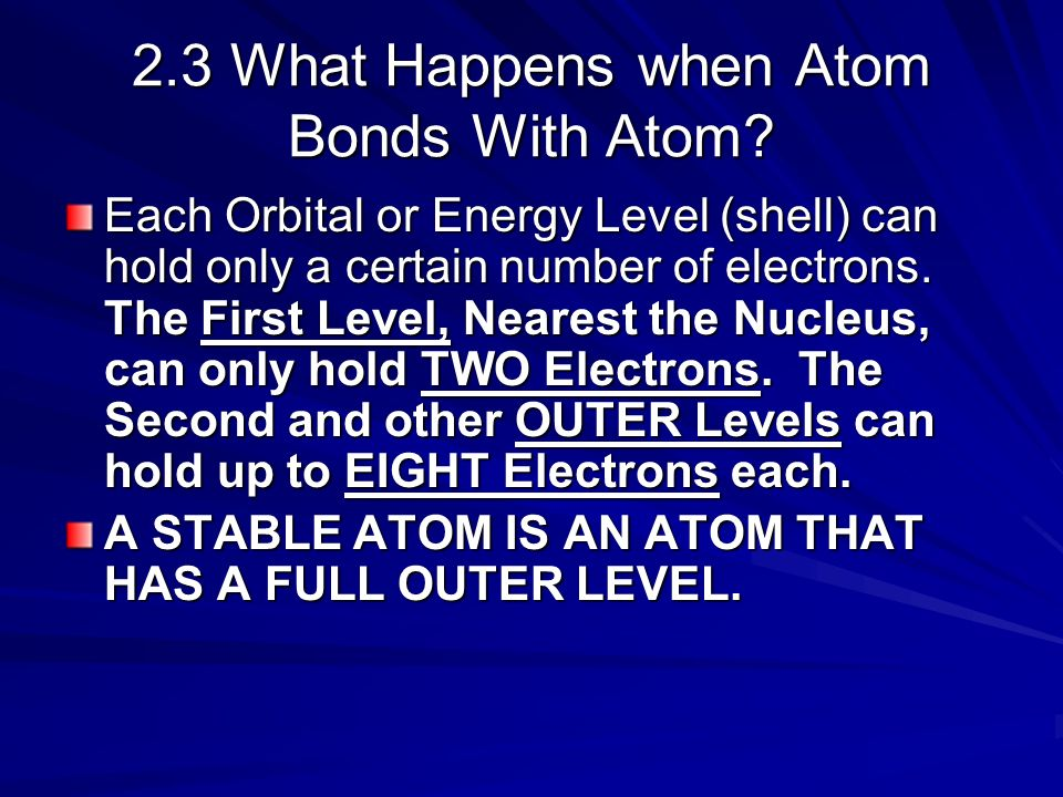 2.3 What Happens when Atom Bonds With Atom