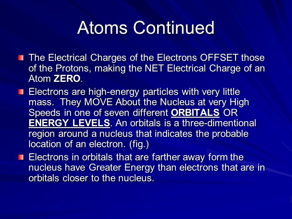 Atoms Continued The Electrical Charges of the Electrons OFFSET those of the Protons, making the NET Electrical Charge of an Atom ZERO.