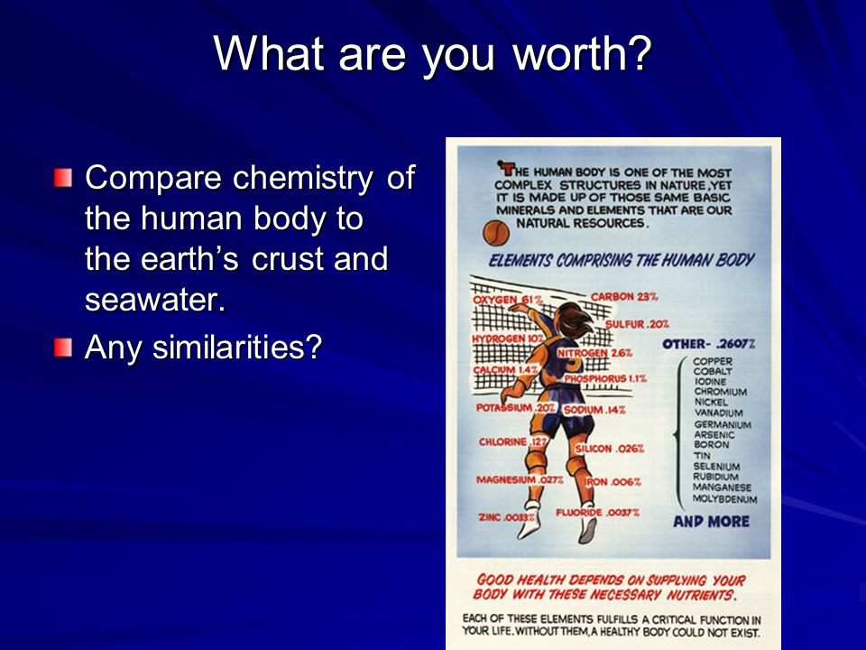 What are you worth. Compare chemistry of the human body to the earth's crust and seawater.