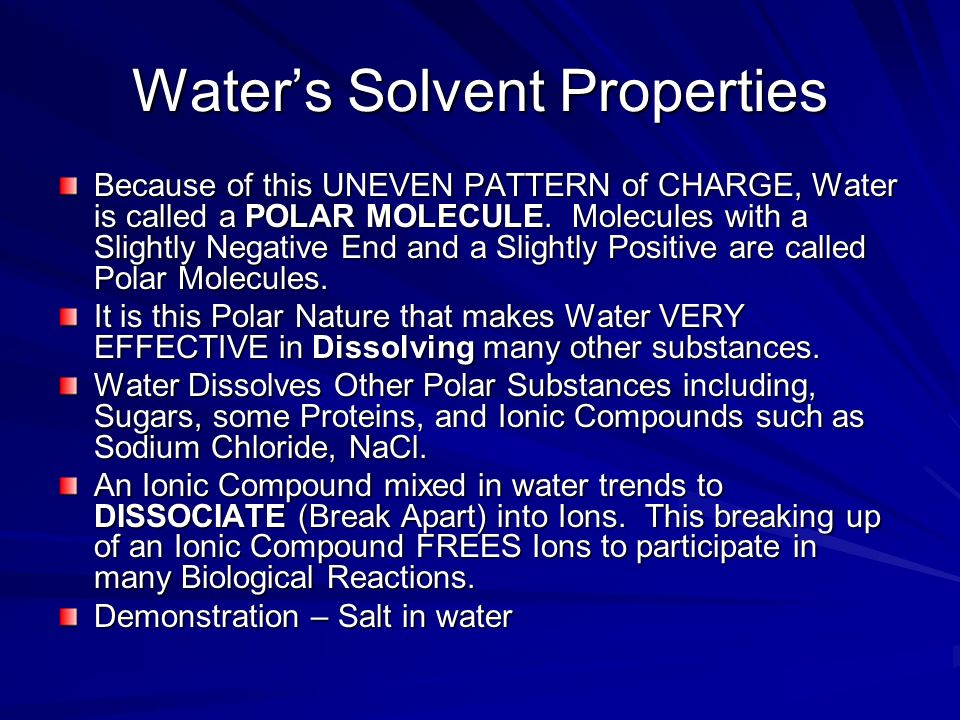 Water's Solvent Properties