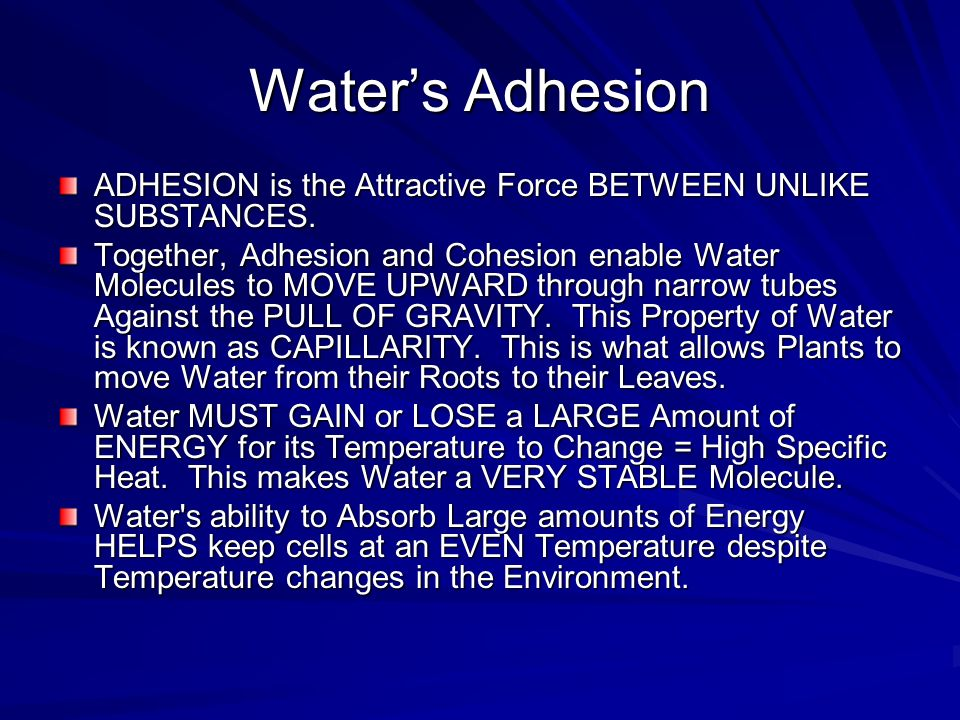 Water's Adhesion ADHESION is the Attractive Force BETWEEN UNLIKE SUBSTANCES.