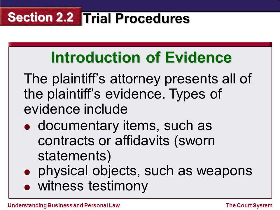 Introduction of Evidence