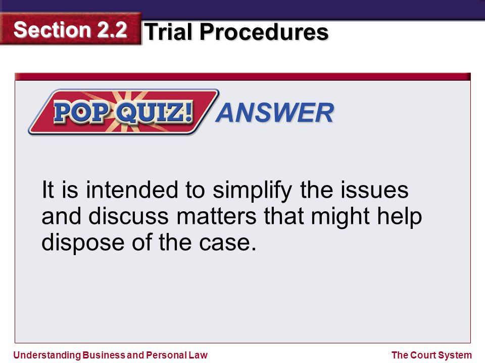 ANSWER It is intended to simplify the issues and discuss matters that might help dispose of the case.