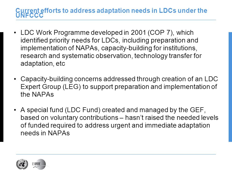 Current efforts to address adaptation needs in LDCs under the UNFCCC