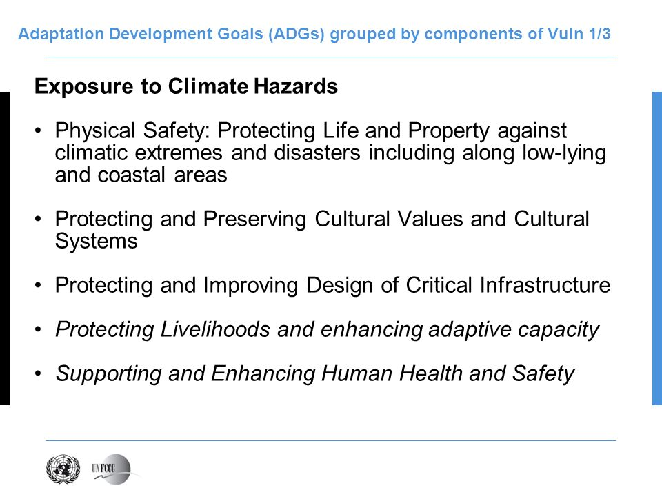Adaptation Development Goals (ADGs) grouped by components of Vuln 1/3