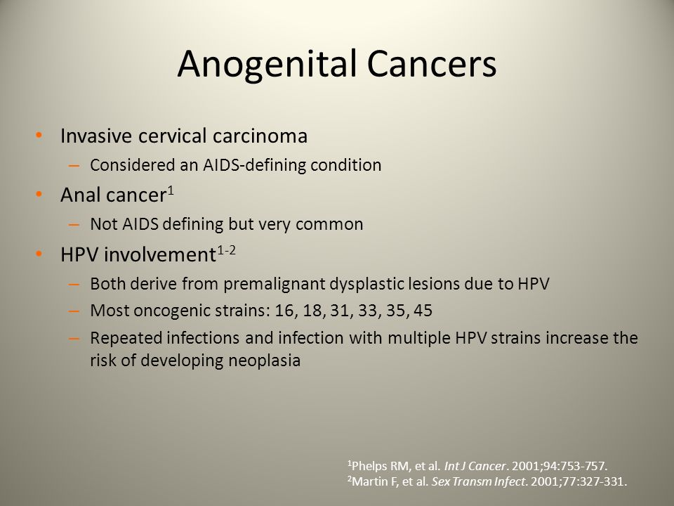 Anogenital Cancers Invasive cervical carcinoma Anal cancer1