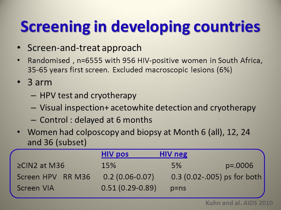 Screening in developing countries