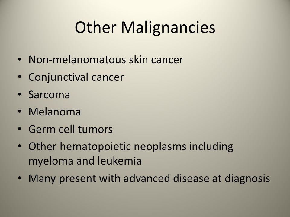 Other Malignancies Non-melanomatous skin cancer Conjunctival cancer