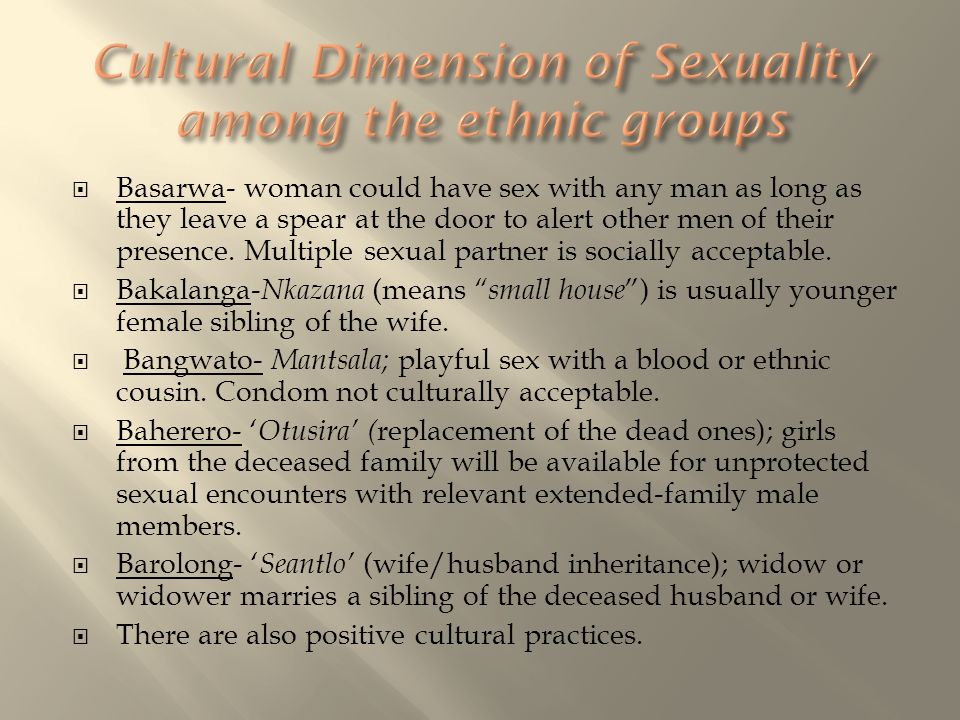 Cultural Dimension of Sexuality among the ethnic groups