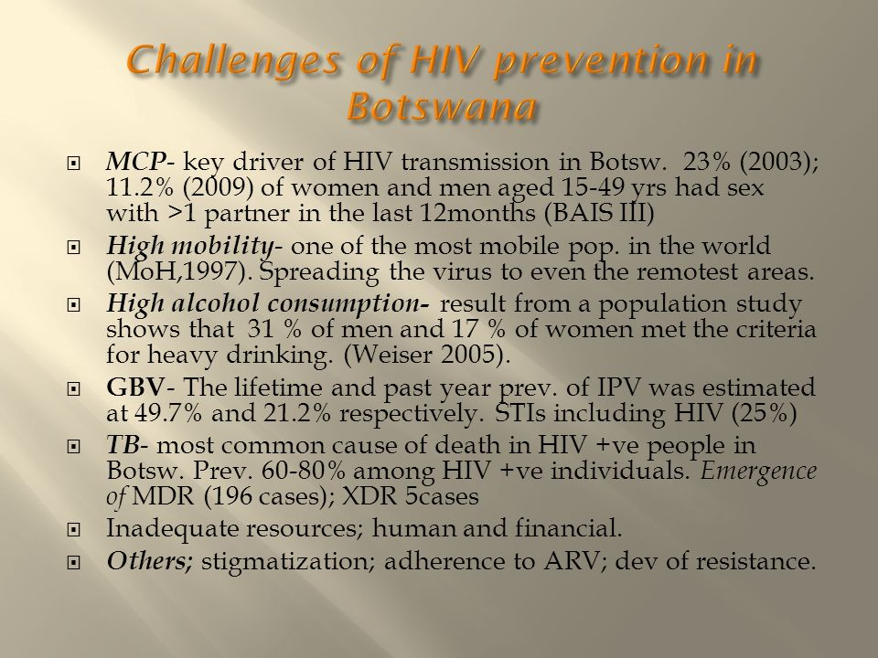 Challenges of HIV prevention in Botswana
