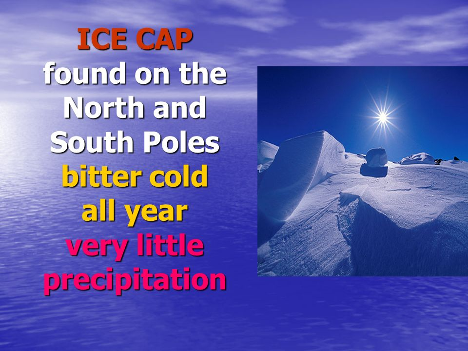 ICE CAP found on the North and South Poles bitter cold all year very little precipitation