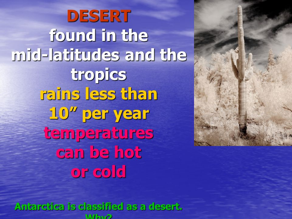 DESERT found in the mid-latitudes and the tropics rains less than 10 per year temperatures can be hot or cold Antarctica is classified as a desert.